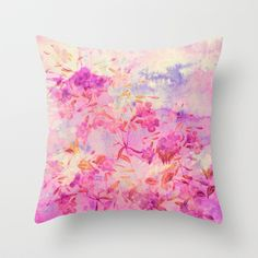 pink flowers and blue sky Throw Pillow by clemm - $20.00 #free shipping thru october12th