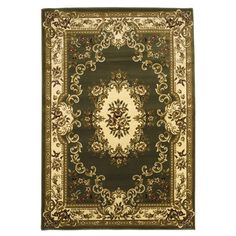 Found it at Wayfair - Corinthian Green & Ivory Aubusson Area Rug