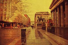 Royal Exchange Square. Glasgow by Jenny Rainbow. #Vintage #Style #Fashion #Glasgow #City #ToteBag #Bag #Square #Scotland #RoyalExchageSquare #Landmark #JennyRainbowFineArtPhotography #Landmark #FineArtPrints #Canvas #WallArt #GreetingCard #Travel #Europe Royal Exchange Square is a public square in the City of Glasgow in Scotland. The square is a landmark that attracts many visitors due to the central building which houses the Glasgow Gallery of Modern Art