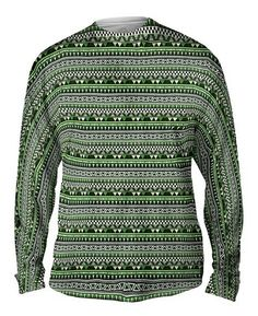 Tribal Green Aztec Warrior all-over printed Mens Long Sleeve by Yizzam. Make your style shine! Aztec Warrior, Long Sleeve, Sleeves, Sweaters, Men, Fashion, Moda, Long Dress Patterns, Fashion Styles