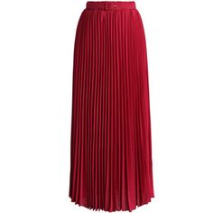 Chicwish Belted Pleated Chiffon Maxi Skirt in Ruby
