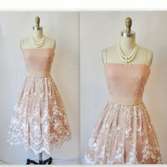 1960's Embroidered Chiffon Nude Mocha Illusion Cocktail Party Prom Wedding Dress XS