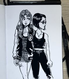 """""""What are you looking at?"""" I just felt like doodling Starfire and Raven, is it okay if I do some more Teen Titans drawings right?"""