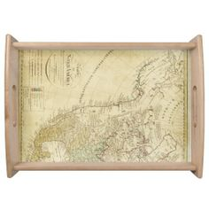 Large Serving Tray Old map North America. Entertain in style with this customized serving tray! Printed in full color, the serving tray comes in two sizes with a black or natural wood finish. Food Serving Trays, Food Trays, Natural Wood Finish, Your Favorite, North America, Vintage World Maps, Entertaining, Printed, Color