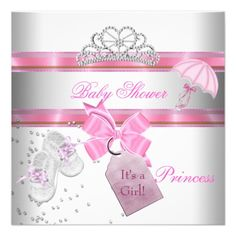 baby shower girl white pink princess damask card | pink, Baby shower invitations