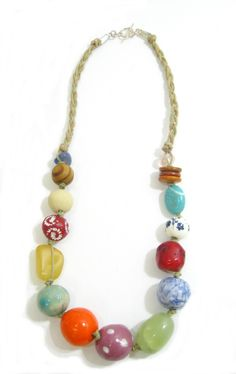 Multicolor Ceramic and Stone on Cord.  Semi-precious and handmade ceramic beads. www.marzipan.co.za