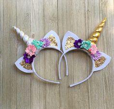 Pastel Unicorn headband pink purple lavender gold unicorn
