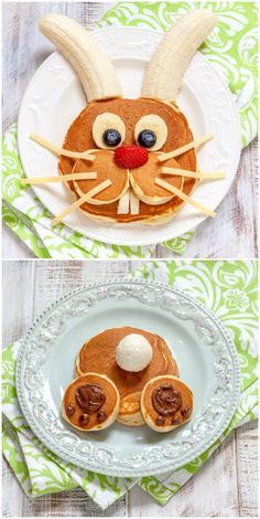 Make your kids' holiday morning special with these Easter bunny pancakes. These are easy to make - you don't need to be a chef to do them! via /diy_candy/