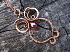 Owl ruby red long pendant Copper wire hand by MargoJewelryHandmade