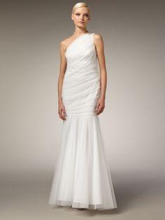 Wedding Dresses, 2014 Style Wedding Dresses, 2014 Style Trumpet/Mermaid One Shoulder Beading Sleeveless Floor-length Tulle White Wedding Dress For Brides