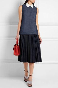 MIU MIU Denim and cotton-chambray shirt