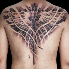 This tattoo was done on the back. Tattoos on the back arethe most often choice of those who work their first tattoo. On the back, tattoos are the least painful. They have become popular nineties. Ladies when do tattoos on back usually do it on the bottom, and the men do it on upper back.
