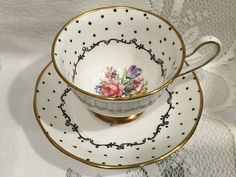 Vintage ENGLISH Salisbury Fine Bone China Tea Cup by CupsAndRoses