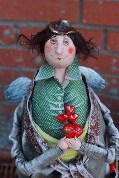 Коллекционные куклы ручной работы: Ангел собиратель сердец. Handmade.