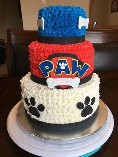 Paw Patrol cake - tiered, fondant, buttercream