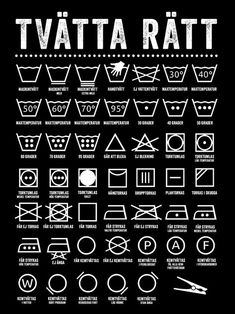 Äntligen får du reda på vad alla tvättsymboler står för! Med denna poster i tvättstugan blir det betydligt lättare att tvätta rätt! :) BRA ATT VETA OM VÅRA