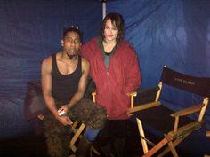 Leven Rambin and Brandon T. Jackson on set of PJO:SOM