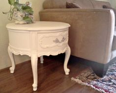 White and Silver French Provincial Round by YourVintageBungalow, $149.00