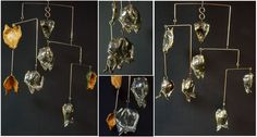 Mobile Ceramic Air Sculpture - Low Fire Ceramic Magnolia flower pod leaves suspended from silicon bronze rods