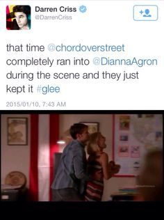 Overgron blooper in glee 6x02  My favorites!! chord and dianna