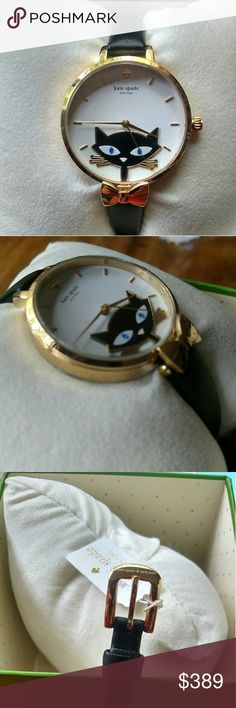 ♠ NWT Kate Spade Rare Jazz Cat's Metro Watch ♠ Brand New With Tags Authentic Kate Spade Rare Jazz Cat's Metro Watch. Includes Watch Box And Instruction Manual. Still Has The Plastic Over The Face And Back Of Watch. Article number KSW1150 Drive type: Quartz Material: Case, Stainless steel Material: Belt, Leather Shelter belt Mineral glass Clock face color: White Cat Belt color: Black Size (vertical X side X thickness) Approximately 43*34*9mm Belt width Approximately 8-10mm The belt arm…