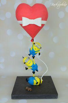 Minion wedding cake - gravity defying cake
