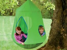 Nylon Canvas HugglePod® HangOut® Hanging Tent with LED Lights and Stand Special - Green Kids Outdoor Play, Outdoor Fun, Backyard Kids, Outdoor Playground, Outdoor Forts, Outdoor Stuff, Outdoor Areas, Hanging Tent, Hanging Chairs