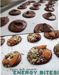 Dark Chocolate Energy Bites. I added almond, lg sea salt, dried cranberries, pumpkin seeds, chia seeds. Amazing!