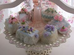 "Olivia's Romantic Home - fabric and lace ""cakes"""