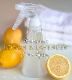 Easy Homemade Lemon & Lavender spray: 30 drops essential oil, 3 oz rubbing alcohol, 1 1/2 c distiller water