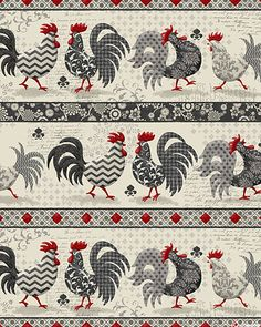 Poulets De Provence - Country Rooster Stripe - Oyster Gray. From eQuilter.com