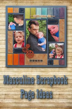 MM-Dads-June Masculine Scrapbook Page Ideas. Using Mosaic Moments Grid Paper, wood tiles, faux leather, denim, gears, metal brads and nail heads to create a page that is worthy of the man in your life.