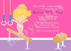 Gymnastics Birthday Party Invitation DIY Print by jcbabycakes. $12.00 USD, via Etsy.