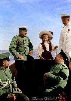 Grand Duchesses of Russia Maria (1899-1918) and Anastasia (1901-1918) Romanova performing a play.