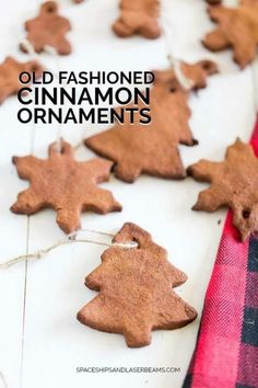 Simple and beautiful, these classic old-fashioned cinnamon ornaments are the perfect holiday craft to do with your kids this Christmas. Old Fashioned Christmas Decorations, Farmhouse Christmas Ornaments, Rustic Christmas, Christmas Decorations To Make, Christmas Tree Ornaments, Holiday Crafts, Holiday Fun, Christmas Crafts, Primitive Christmas