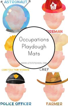 Community Helpers Playdough Mats created by simply learning. Community Workers, School Community, Classroom Community, My Community, Community Places, Art Therapy Activities, Learning Activities, Teaching Ideas, Space Activities
