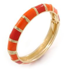Bright Orange Enamel Hinged Bangle Bracelet In Gold Plating - 19cm L ** Check out this great product. (This is an affiliate link) #Bracelets