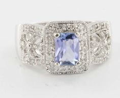 Estate 14 Karat White Gold Tanzanite Diamond Cocktail Ring Fine Jewelry Sz 7 $649