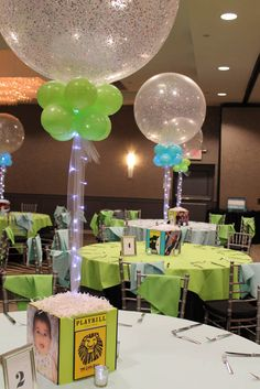 Broadway Photo Cube Broadway Themed Bat Mitzvah Photo Cube with Playbills & Sparkle Balloons