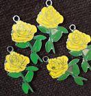 X5 Yellow Rose Flower Charms/Pendants Jewellery Making Cute Scrapbooking