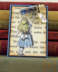 "https://flic.kr/p/6atd2h | Alice in Wonderland Artist Trading Card | ATC of Alice after she's grown tiny, she's reaching up for the bottle that says ""Drink Me"""