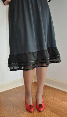 Three-tiered Black Chiffon / Ribbon RuffleTrimmed Slip - Available in Black, White, Brown, Cream / Ivory Chiffon Ruffle, Ruffle Trim, Slip Extender, Black Nylons, Custom Made, Ribbon, My Style, Brown, Skirts