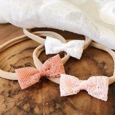 Mini Polka Dot Bow Headband in Shocking Pink and Peach Newborn Girls Set of 2 Wool Felt Bow Headbands,Baby Classic Bow Headband