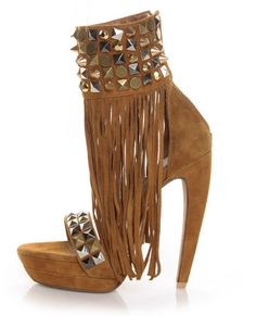 Jeffrey Campbell Spend Tan Suede Studded Fringe Pumps  lulus.com