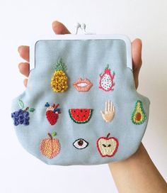 Hand embroidered ' Healthy Fruits ' Purse by by BaobapHandmade