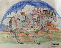 """""""War Pony"""" coloring page by Janet Ball. Medium: Colored Pencil"""