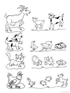 Pracovní listy pro děti na téma: domácí zvířata a jejich mláďátka.   …