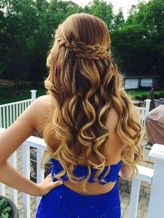 Prom hair half up half down with braid