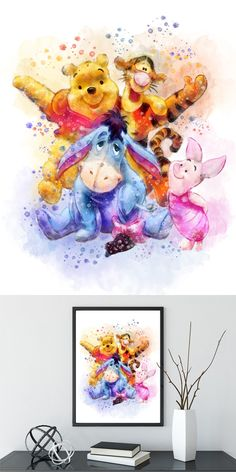 Winnie pooh print winnie the pooh winnie the pooh art winnie pooh winnie pooh poster winnie pooh nursery disney art Eeyore Tigger Winnie The Pooh Pictures, Winnie The Pooh Quotes, Disney Winnie The Pooh, Tigger Disney, Disney Kunst, Arte Disney, Disney Art, Disney Tattoos, Watercolor Disney
