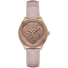 NEW GUESS ROSE GOLD TONE,PINK GLITTER LEATHER BAND,HEART,GLITZ WATCH W0698l2 | Jewelry & Watches, Watches, Parts & Accessories, Wristwatches | eBay!